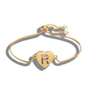 Jewelry - NWT Gold Multicolor R Initial Name Heart Bracelet